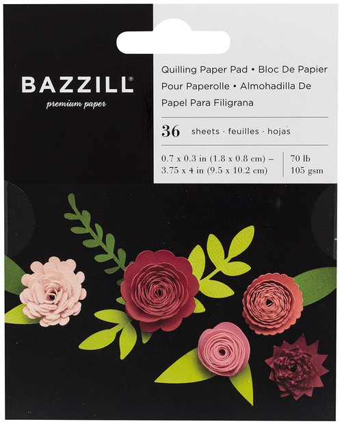 3 Pack Bazzill Quilling Paper Pad 36/Pkg-Rosey -BZQUILPP-00126 - 846523001267