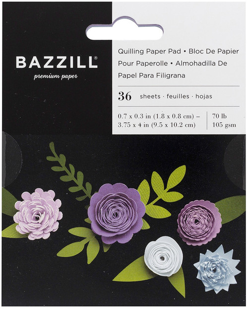 3 Pack Bazzill Quilling Paper Pad 36/Pkg-Lilac -BZQUILPP-00129 - 846523001298