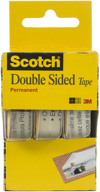 """2 Pack Scotch Permanent Double-Sided Tape-.5""""X250"""" 3/Pkg -3136-3M - 051131673366"""
