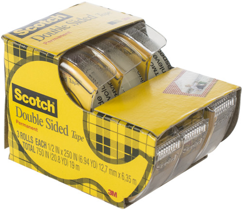 """2 Pack Scotch Permanent Double-Sided Tape-.5""""X250"""" 3/Pkg -3136-3M"""