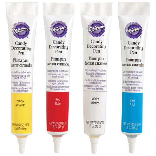 3 Pack Candy Decorating Pens 1.25oz 4/Pkg-Red, Yellow, White & Blue -W1285