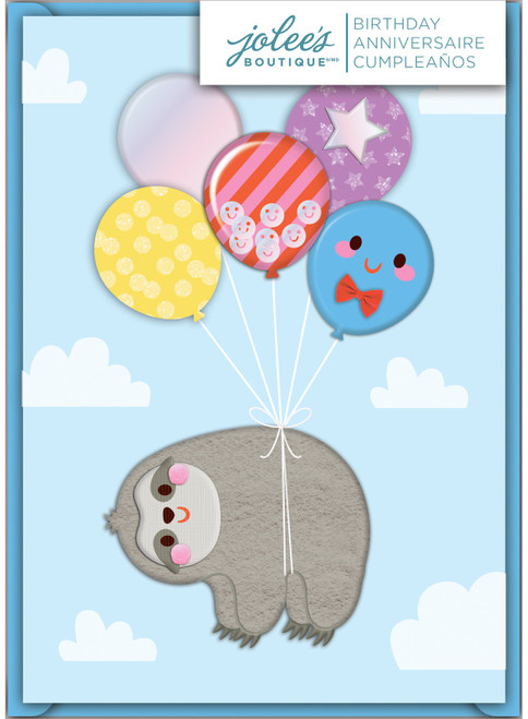 Jolees Boutique Greeting Card-Sloth With Balloons -E8600-064 - 015586000641