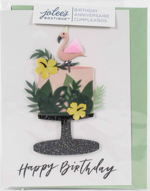 Jolees Boutique Greeting Card-Tropical Cake Happy Birthday -E8600-509 - 015586005097