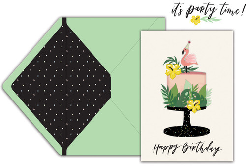 Jolees Boutique Greeting Card-Tropical Cake Happy Birthday -E8600-509