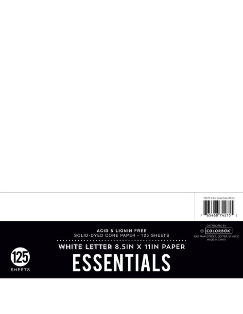 "3 Pack Colorbok Essentials 24lb Cardstock 8.5""X11"" 125/Pkg-White -74275 - 765468742755"