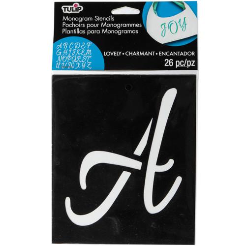 3 Pack Tulip Medium Fabric Stencil Kit 26/Pkg-Lovely Monogram -33714 - 017754337146