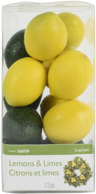2 Pack Floracraft Design It Simple Decorative Fruit 13/Pkg-Mini Lemons & Limes -RS9802 - 046501063397