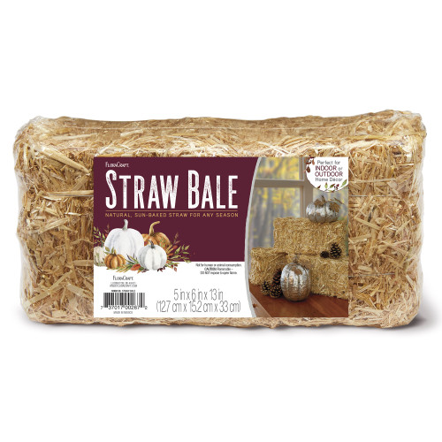 """3 Pack Floracraft Straw Bale 6""""X5""""X13""""-Natural -MXB13S12 - 737017002672"""