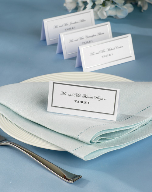 3 Pack Place Cards 60/Pkg-White W/Silver Border -W82290