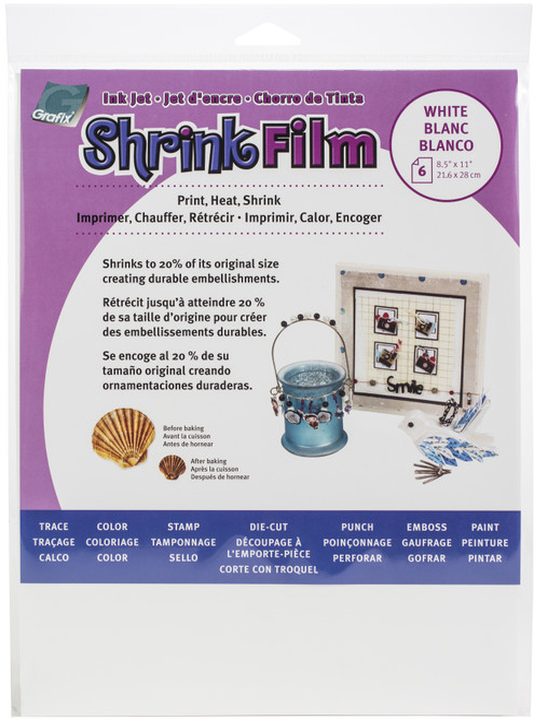"2 Pack Grafix Ink Jet Shrink Film 8.5""X11"" 6/Pkg-White -KSF6-WIJ"