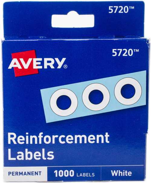 """2 Pack Avery White Self-Adhesive Reinforcement Labels 1000/Pkg-.25"""" Round -5720 - 072782057206"""