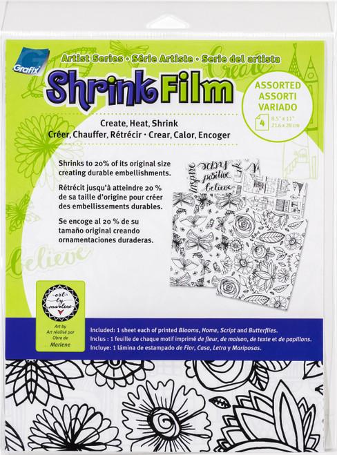 """3 Pack Artist Series Printed Shrink Film 8.5""""X11"""" 4/Pkg-Bloom, Home, Script, Butterflies -KSF4ASST-MN - 096701148547"""