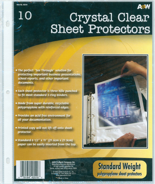 """12 Pack Page Protectors 9.25""""X11.25"""" 10/Pkg-Clear -42510 - 079184425107"""