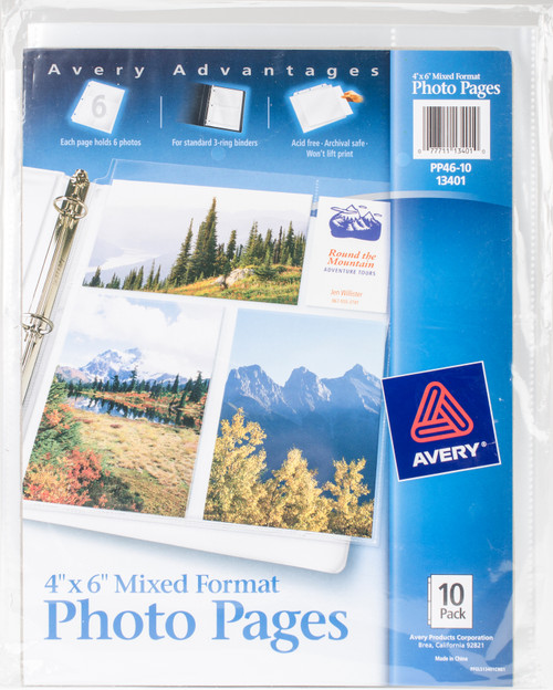 """3 Pack Mixed Format Photo Pages 4""""X6"""" 10/Pkg-13401 - 077711134010"""