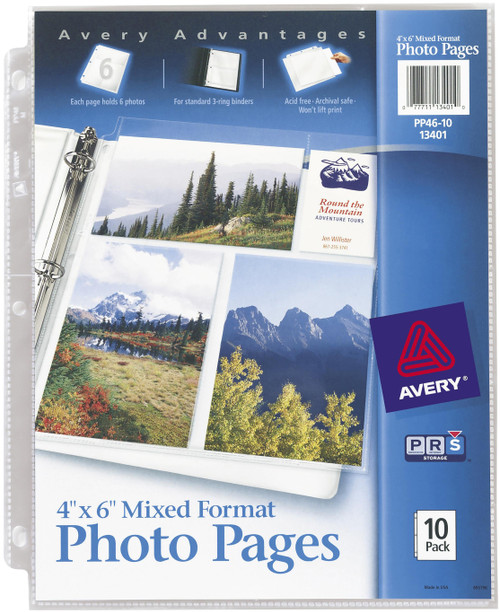 """3 Pack Mixed Format Photo Pages 4""""X6"""" 10/Pkg-13401"""