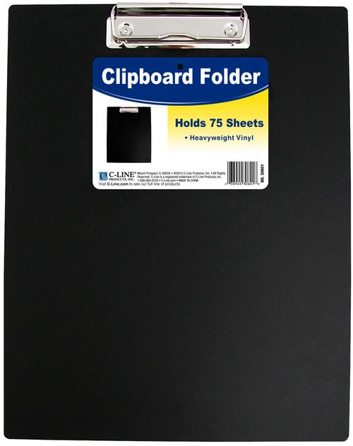 "3 Pack Vinyl Clipboard Folder 12.75""X9""-Black -30601 - 038944306018"