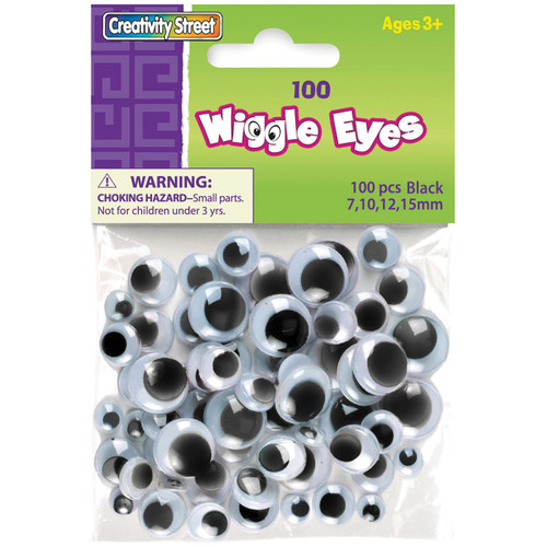 3 Pack Paste-On Wiggle Eyes Assorted 7mm To 15mm 100/Pkg-Black -3446-02 - 021196344624