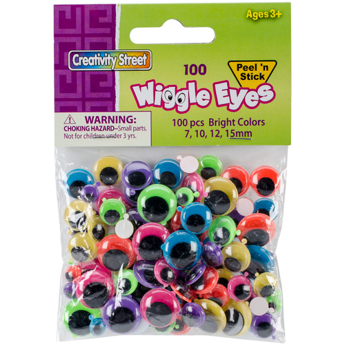 3 Pack Peel & Stick Wiggle Eyes Assorted 7mm To 15mm 100/Pkg-Brights -3446-12 - 021196034624