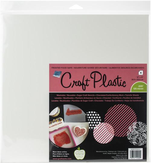 """Grafix Foodsafe Craft Plastic Sheets 12""""X12"""" 4/Pkg-Frosted .005 -K05FCP12 - 096701149001"""