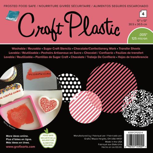 """Grafix Foodsafe Craft Plastic Sheets 12""""X12"""" 4/Pkg-Frosted .005 -K05FCP12"""