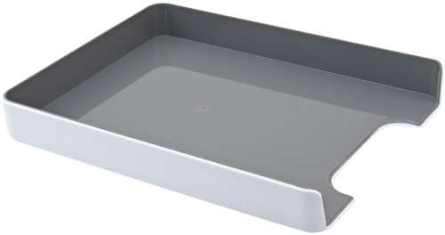 """4 Pack Fusion Letter/Paper Tray 10""""X12.75""""X1.75""""-White W/Gray Interior -FLTRAY-37522"""
