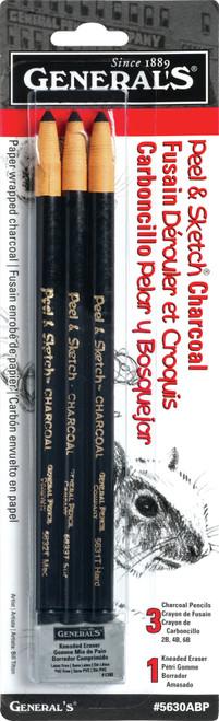 Peel & Sketch Charcoal Pencils 3/Pkg-5630ABP - 044974563031