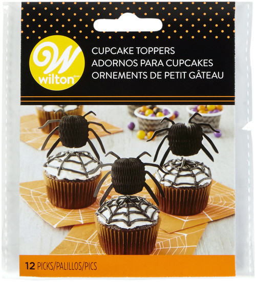 6 Pack Cupcake Toppers 12/Pkg-Honeycomb Spiders -W4143 - 070896341433