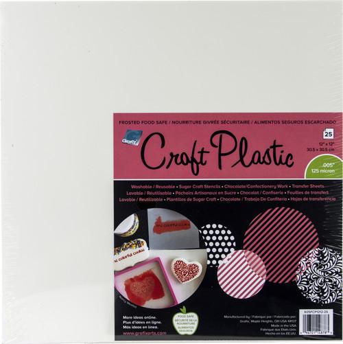 """Grafix Foodsafe Craft Plastic Sheets 12""""X12"""" 25/Pkg-Frosted .005 -K05FCP25 - 096701148783"""
