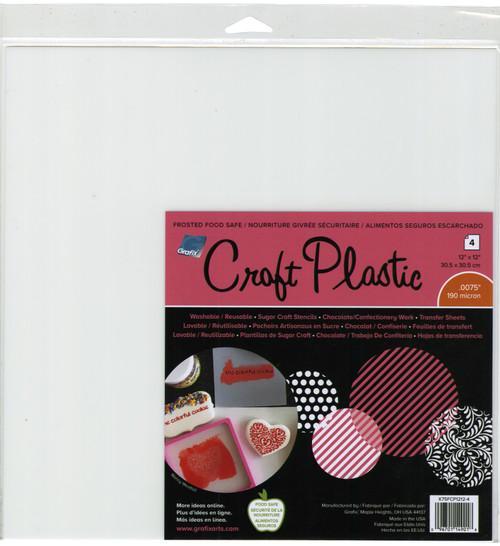 """Grafix Foodsafe Craft Plastic Sheets 12""""X12"""" 4/Pkg-Frosted .0075 -K75FCP12 - 096701149018"""