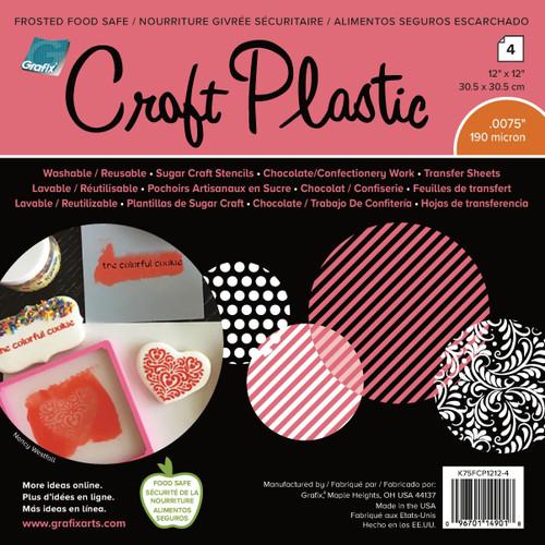 """Grafix Foodsafe Craft Plastic Sheets 12""""X12"""" 4/Pkg-Frosted .0075 -K75FCP12"""