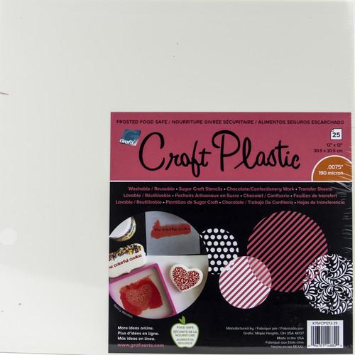 """Grafix Foodsafe Craft Plastic Sheets 12""""X12"""" 25/Pkg-Frosted .0075 -K75FCP25 - 096701148820"""