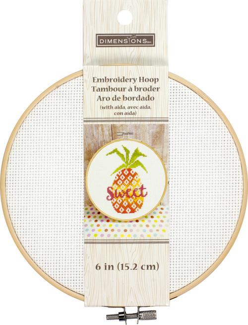 "Dimensions Embroidery Hoop W/Aida 6""-White -72-75928 - 088677759285"