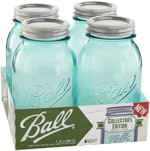 Ball(R) Regular Mouth Canning Jars 4/PKg-Quart Vintage Aqua, 32oz -69055 - 014400690556