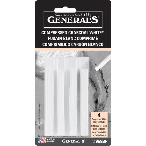 Compressed Charcoal Sticks 4/Pkg-White 2B, 4B & 6B -GP958BP - 044974958042