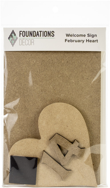 Foundations Decor Welcome Sign Kits-February Heart -WSK-02760 - 814948027605