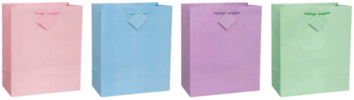 """4 Pack Solid Glossy Gift Bags 10.5""""X12.5"""" Assortment-Pastel-3 Each Of 4 Colors -64313 - 011179643134"""