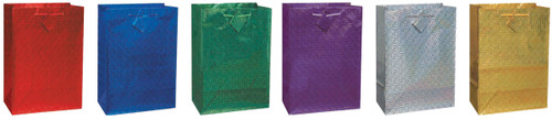 """12 Pack Holographic Glossy Gift Bags 10.5""""X12"""" Assortment-2 Each Of 6 Colors -64345 - 011179643455"""