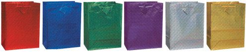 """12 Pack Holographic Glossy Gift Bags 7""""X9"""" Assortment-Assorted Colors -64346 - 011179643462"""