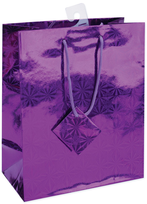 """12 Pack Holographic Glossy Gift Bags 7""""X9"""" Assortment-Assorted Colors -64346"""