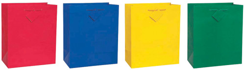 """4 Pack Solid Glossy Gift Bags 10.5""""X12.5"""" Assortment-Primary-3 Each Of 4 Colors -64312 - 011179643127"""
