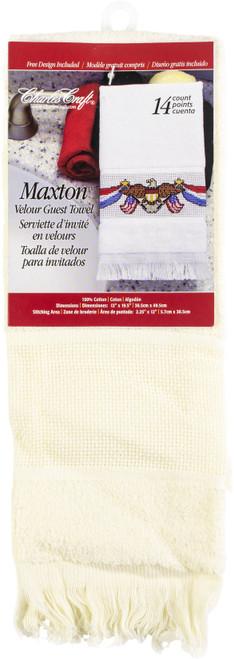 "Charles Craft Maxton Velour Guest Towel 14 Count 12""X19.5""-Ecru -VT6910-2724 - 078243062536"