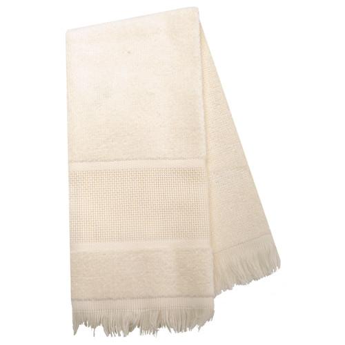 "Charles Craft Maxton Velour Guest Towel 14 Count 12""X19.5""-Ecru -VT6910-2724"