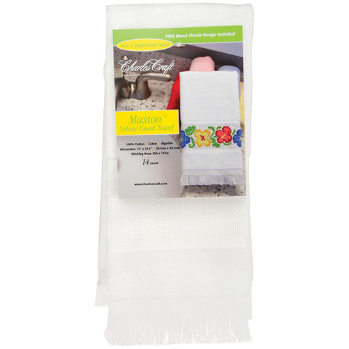 """Charles Craft Maxton Velour Guest Towel 14 Count 12""""X19.5""""-White -VT6910-6750 - 078243062642"""