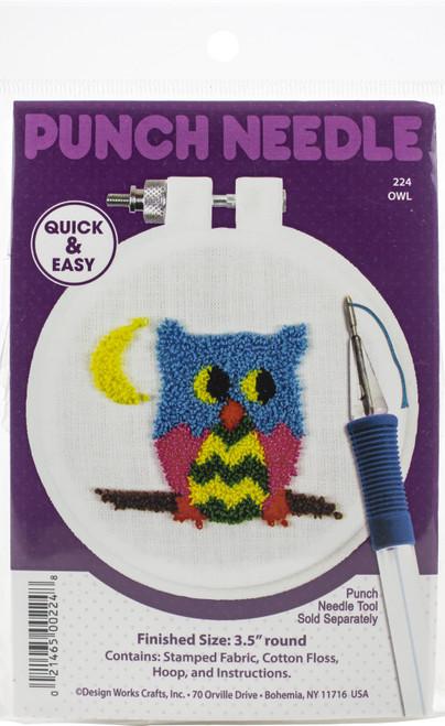 "Design Works Punch Needle Kit 3.5"" Round-Owl -DW224 - 021465002248"