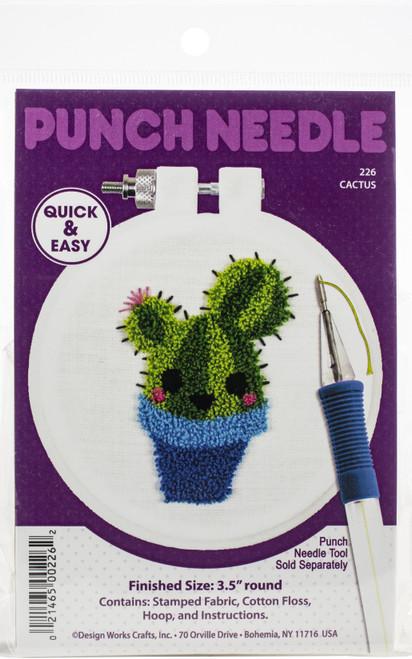 "Design Works Punch Needle Kit 3.5"" Round-Cactus -DW226 - 021465002262"