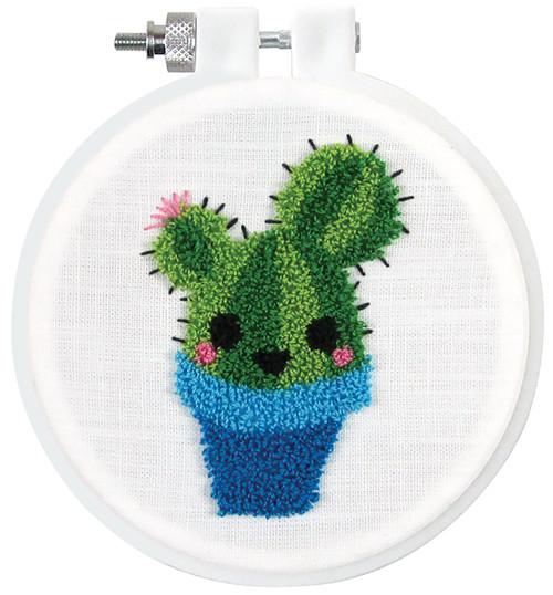 "Design Works Punch Needle Kit 3.5"" Round-Cactus -DW226"