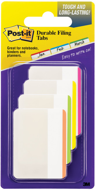 """Post-It Durable Filing Tabs 2""""X1.5"""" 24/Pkg-Assorted Neon Colors -686F-1 - 021200506727"""