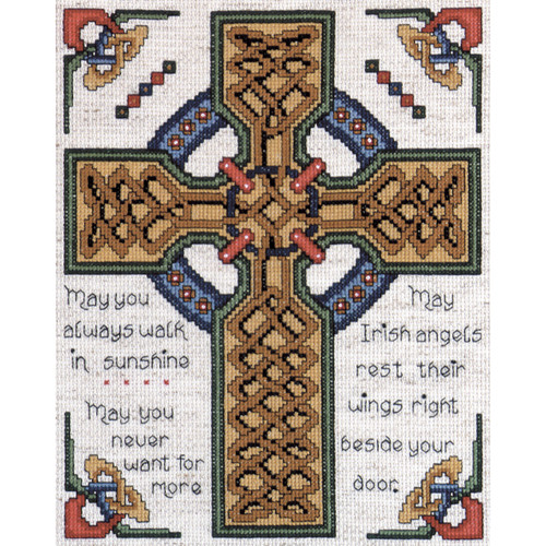 """Design Works Counted Cross Stitch Kit 8""""X10""""-Celtic Cross (14 Count) -DW2417 - 021465024172"""