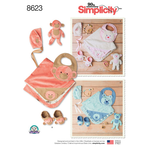 Simplicity Baby Hat, Blanket, Bib, Booties & Animal-ALL SIZES -US8623A - 039363586234
