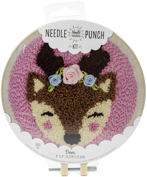 "Fabric Editions Needle Creations Needle Punch Kit 6""-Deer -NC-PNND6-DEER - 699919301454"